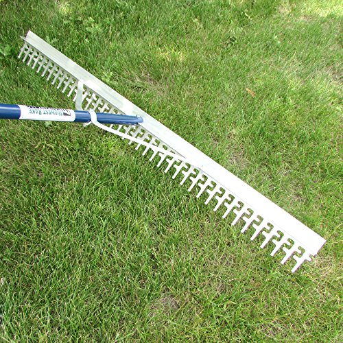 Super 4-Ft Wide Heavy Duty Rake with Extendable 11-Ft Long Handle for Seaweed beach screening landscaping raking and more