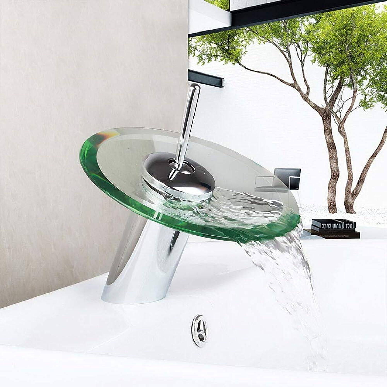 Waschbecken Wasserhahn Wasserfall Chrom Ein Loch Einhand Ein Loch Messing 1