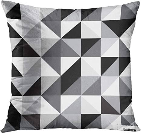 Tomkeys Throw Pillow Cover Gray Geometric Black And White Triangle Pattern Abstract Grey Decorative Pillow Case Home Decor Square 18x18 Inches Pillowcase Home Kitchen