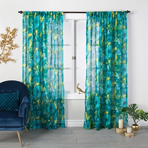 """84""""x54"""" Indochic Floral Sheer Curtain Panel Bluff Green - Opalhouse™"""