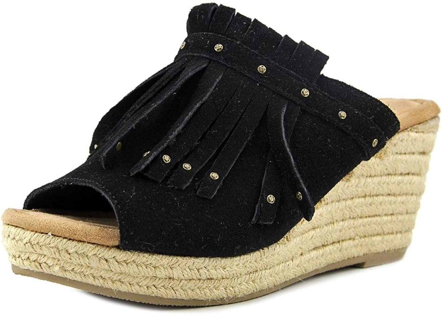 Minnetonka Women's Quinn Wedge Sandal - 71329Blk