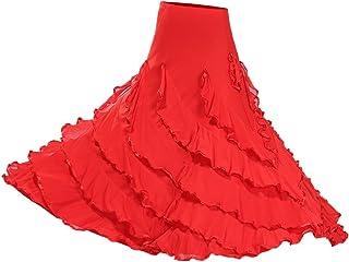 Sharplace Große Schaukel Damen Maxirock Tanzrock Tanzkleider Ballsaal Tanzen Lange Rock Flamenco Kleid Boho Hippie Walzer Tango Latein Kostüm