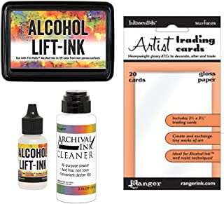 Tim Holtz Alcohol Ink Lift-Ink Pad, Reinker, Cleaner and ATC Gloss Paper - 4 Item Bundle