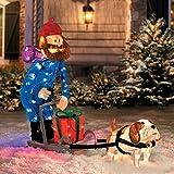 "Christmas 42"" Yukon Cornelius Dog Sleigh Scene Outdoor Tinsel Rudolph The Red Nosed Reindeer Decoration"