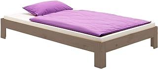 IDIMEX Lit futon Thomas Couchage Simple 90 x 190 cm 1 Place / 1 Personne, en pin Massif lasuré Taupe