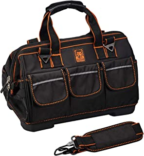 Tool Bag with Molded Base Wide Mouth 16-inch Waterproof 17 Multi-pocket with Adjustable Shoulder Strap