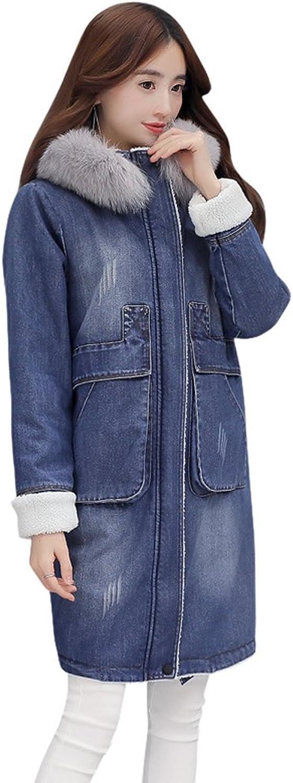 Drasawee Women's Winter Faux Fur Hooded Warm Denim Jacket