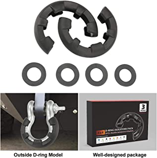 BUNKER INDUST Newest D Ring/Shackle Isolator Kit,1 Pair Black D-Ring Isolator and 4 Pcs Washers Dring Cover Fit for 3/4 Shackle 4x4 Jeep Accessories Protect Bumper Reduce Rattling Shackle Silencers