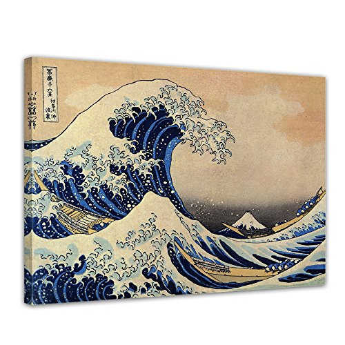 Wandbild Katsushika Hokusai Die große Welle vor Kanagawa - 50x40cm quer - Alte Meister Berühmte Gemälde Leinwandbild Kunstdruck Bild auf Leinwand