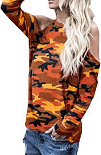 Blouses for Womens, FORUU Off Shoulder Sexy Camouflage Long Sleeve Tops T Shirts