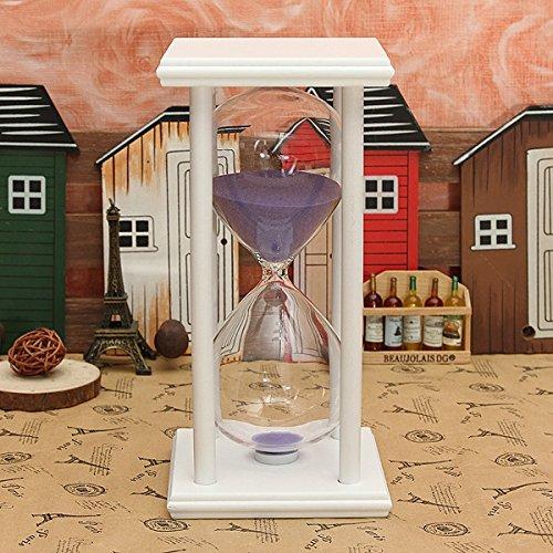 Bluelover 60 Minutes en Bois Cadre Sablier Sablier Sable Minuterie Accessoires Décoration-Cadeaux - Blanc + Violet