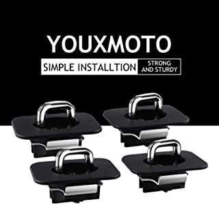 Youxmoto 4 Pcs Truck Top Bed Tie Down Anchors Hook Rings for 1998-2014 F-150, 1998-2016 Super Duty, 1999-2013 Silverado Sierra (Does Not Fit 3500), 1995-2018 RAM (09-18 Ram Rail Cap Cut Required)