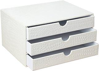 Armoires de classement en Cuir Artificiel Boîte de Rangement de Bureau Blanc A4