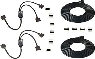 2PCS 4 Pin RGB LED Splitter Cable LED Strip Connector 2 Way Splitter Y Splitter Connection with 2PCS 4 Pin 2m 6.6ft RGB LE...