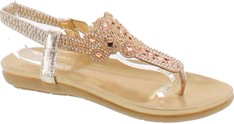 Static Footwear Lucita 3-25 Women Glitter Sparkle Rhinestone Cut Out T-Strap Cushioned Slingback Thong Sandals