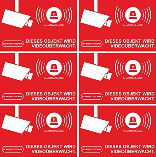 INDIGOS UG Aufkleber Alarmgesichert - Alarmanlage 10-Set 52x35mm - Rechteckig - rot
