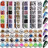 5 Box 11440pcs Nails Rhinestones, 36 Pots Foils Flakes, Teenitor Professional Nail Decoration with Gems for Nails Stud Foil for Nails Art