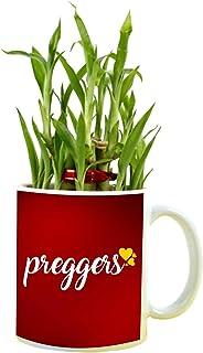 YaYa cafe for Pregnant Women, Preggers Feng Shui Lucky Bamboo Indoor Mug Planter with 2 Tier