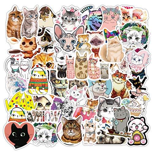 80pcs Waterproof Cat Stickers for Water Bottle Laptop, Vinyl Sticker for Kids Teens Adults