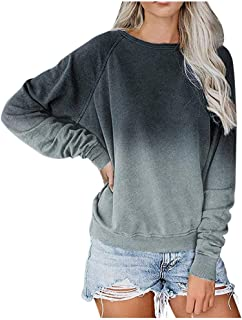 Tops for Womens Long Sleeve,Frunalte Casual O-Neck Gradient Contrast Color Blouse Long Sleeve Top Pullover Sweatshirt