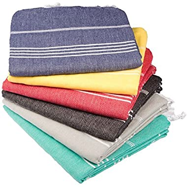 Towel Set 6 Pieces Variety - Classic Turkish Peshtemal Towel 100% Cotton 39 X 70 Stylish Bath Beach Spa and Fitness Towel