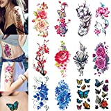 3D Temporary Tattoos for Women Flowers Large Lotus Rose Cherry Butterfly Waterproof Tattoo Sexy Fake Stickers Girls Lady Tattoo Body Art