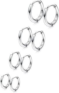 4 Pairs 316L Surgical Stainless Steel Huggie Hoop Earrings 8mm/10mm/11mm/12mm/14mm Hypoallergenic Earrings Hoop Cartilage Helix Lobes Hinged Sleeper Earrings for Men Women