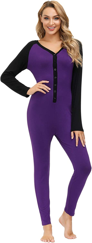 Zexxxy Women One Piece Pajama Button Down Long Sleeve Union Suit Romper Underwear