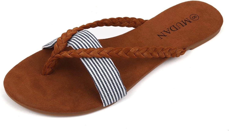 Mu Dan Women's Thong Flat Sandals (10 (B) M US, Brown)