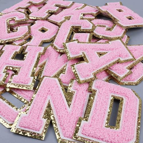 26 parches para planchar con letras de la A a la Z, para coser en apliques, parches de bordado del alfabeto, parches decorativos de reparación para sombreros, ropa, zapatos, bolsa de camisa (rosa)