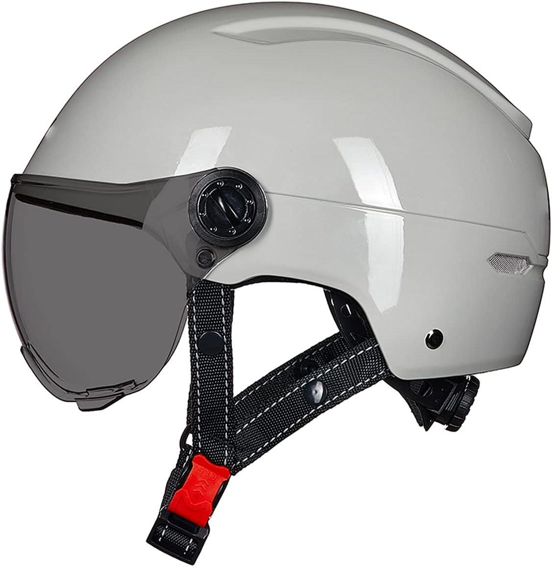 MRDAER Motocicleta Verano Retro Jet Half Cascos Motos Casco de Cara Abierta para Hombres Mujeres Gorra eléctrica con Visera aprobada por ECE/ECE (55-62cm)