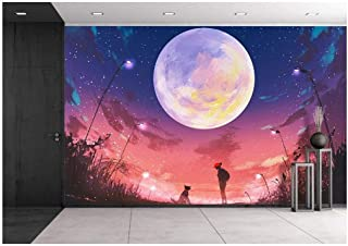 wall26 - Illustration - Young Woman with Dog at Beautiful Night with Huge Moon Above,Illustration Painting - Removable Wall Mural   Self-Adhesive Large Wallpaper - 66x96 inches