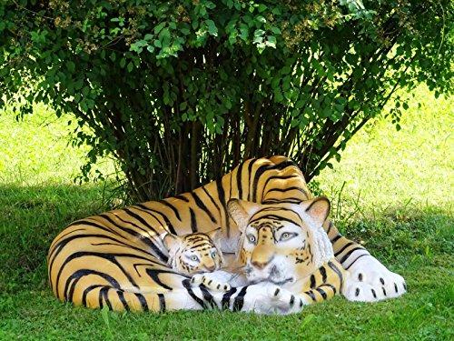 XXL Tiger mit Baby~LEBENSGROSS~LÖWE Deluxe Gartendeko~Gartendekoration~TOP DEKO~Wow