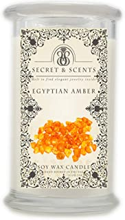 Elegant Jewelry in Soy Candle - Secret and Scents Highly Scented Soy Candles - Pick Your Scent and Jewelry Type (Egyptian Amber, Ring Size 8)