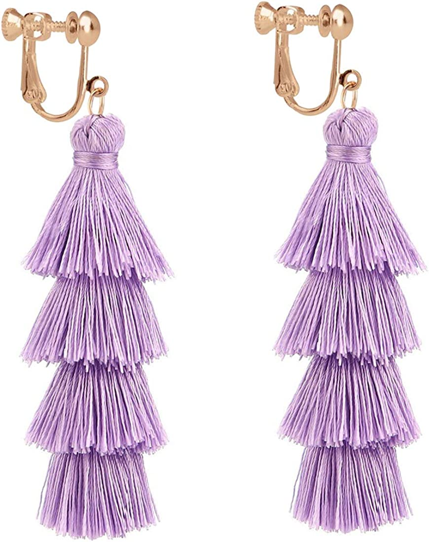 Tassel Tiered Clip on Earrings Handmade 4 Layers Elegant Thread Drop Dangle for Women Girls Jewelry