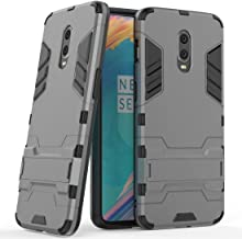 Case for OnePlus 6T (6.41 inch) 2 in 1 Shockproof with Kickstand Feature Hybrid Dual Layer Armor Defender Protective Cover (Grey)