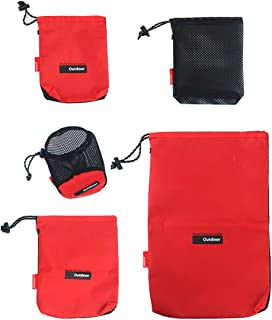 Drawstring Bags Pouch/Ditty Bag/Mesh Stuff Sack Camping Cord Bag Storage 5-in-1 Travel Use Nylon 5 Pieces
