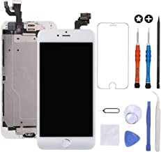 GULEEK for iPhone 6 Plus Screen Replacement White Touch Display LCD Digitizer Full Assembly with Front Camera,Proximity Sensor,Ear Speaker and Home Button Including Repair Tool and Screen Protector