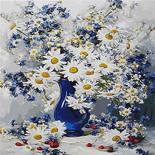 Flores para colorear digitales Pintado a mano Dibujo Lienzo Picture Kit Diy Decoración del hogar Regalos 40x50cm