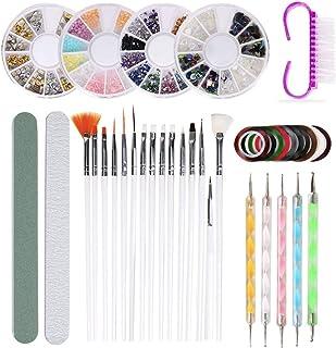 37 PCS Nail Art Painting Polishing Design Kit 15pcs Nail Brushes + 10pcs Striping Tape + 4 Boxes Rhinestones + 5pcs Pens +...