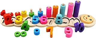 GEDIAO Wooden Montessori Math Blocks Number Stacking Learning Toys Kids Preschool Counting, Colorful Wood Board Toy