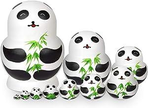 Hotusi 10Pcs Panda Wooden Handmade Nesting Dolls Matryoshka Dolls Set Animal Theme for Kids Toy Birthday Home Kids Room Decoration