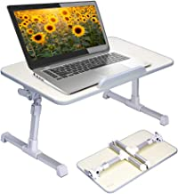 Neetto Adjustable Laptop Bed Table, Foldable Breakfast Tray, Portable Lap Standing Desk, Notebook Stand Reading Holder for Couch Sofa Floor Kids (Honeydew) - Standard Size