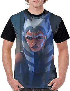 Chaoshju Darth Vader Vs Ahsoka Men's Short Sleeve Great Graphic T-Shirts for Men