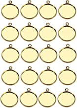 IPOTCH 20Pcs Round Cabochon Blank Bezel Base Tray Pendant Trays for Jewelry Making DIY Cabochons Settings