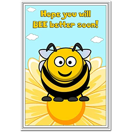 Cute Bumble Bee Wishes Speedy Recovery Feel Better Blank Inside to Write Special Message of Love Support Good Cheer Get Well Soon Card Illness Confinement Home Hospital Thoughtful Greetings