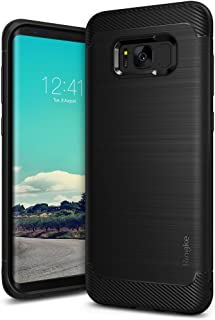 Ringke Onyx Compatible with Galaxy S8 Case Brushed Metal Design Flexible & Slim Dynamic Stroked Pattern Trim Fingerprint Resistant Cover for Samsung Galaxy S 8 (2017) - Black
