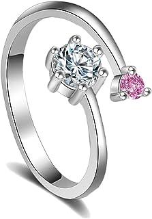 Karatcart Platinum Plated Elegant Classic Pink Crystal Adjustable Ring for Women