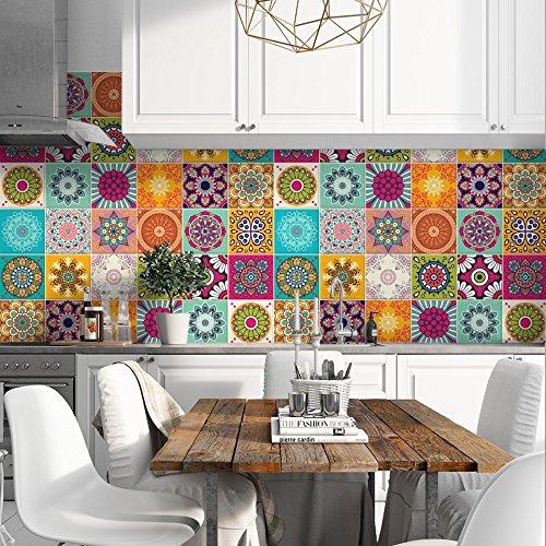 (24 Piezas) Pegatinas para Azulejos tamaño 10x10 cm PS00179 Adhesivo de Vinilo Decorativo para Azulejos de baño y Cocina
