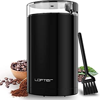 Electric Coffee Grinder, LOFTER 150W Portable Spice & Nut Grinder with Stainless Steel Blade, Large Grinding Capacity, Portable & Compact, Fast Grinding for Coffee Beans, Seeds, Spices, Herbs, Grains, 15 Cups, Black